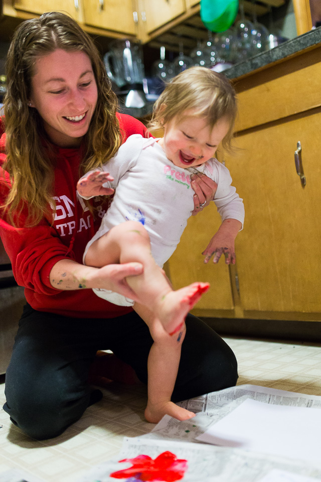 Baby Finger and foot painting with mom