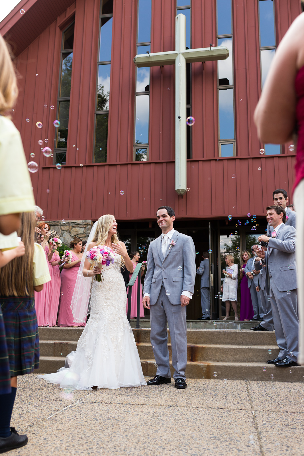 Bride and Groom at Outside the Church