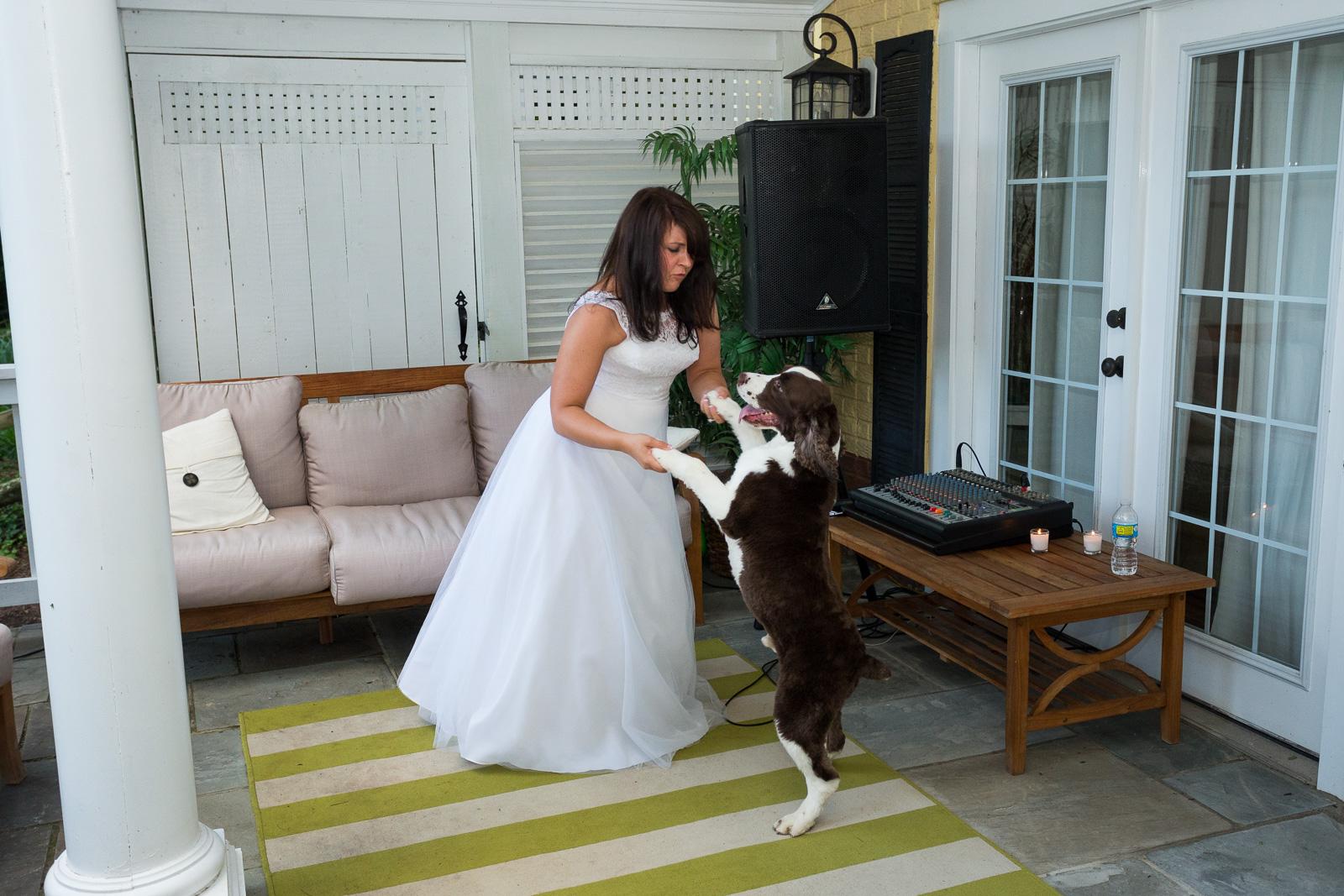 Bride anddog dancing at Annapolis Waterfront Wedding