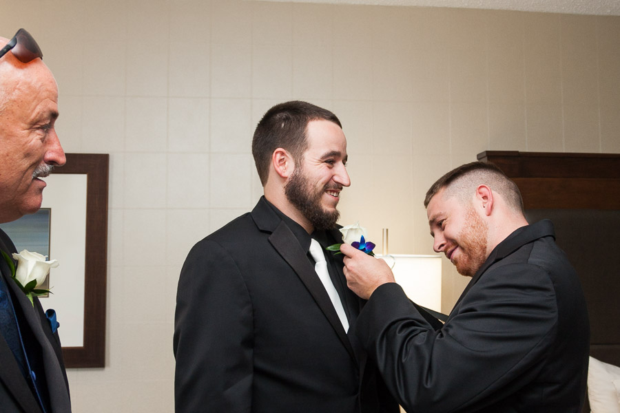 The groom getting ready